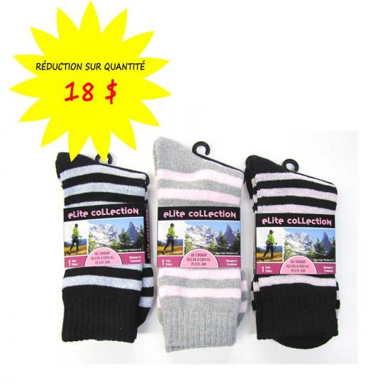 Chaussettes/Bas rayés pour femmes Collection Elite- Lot de 12 paires