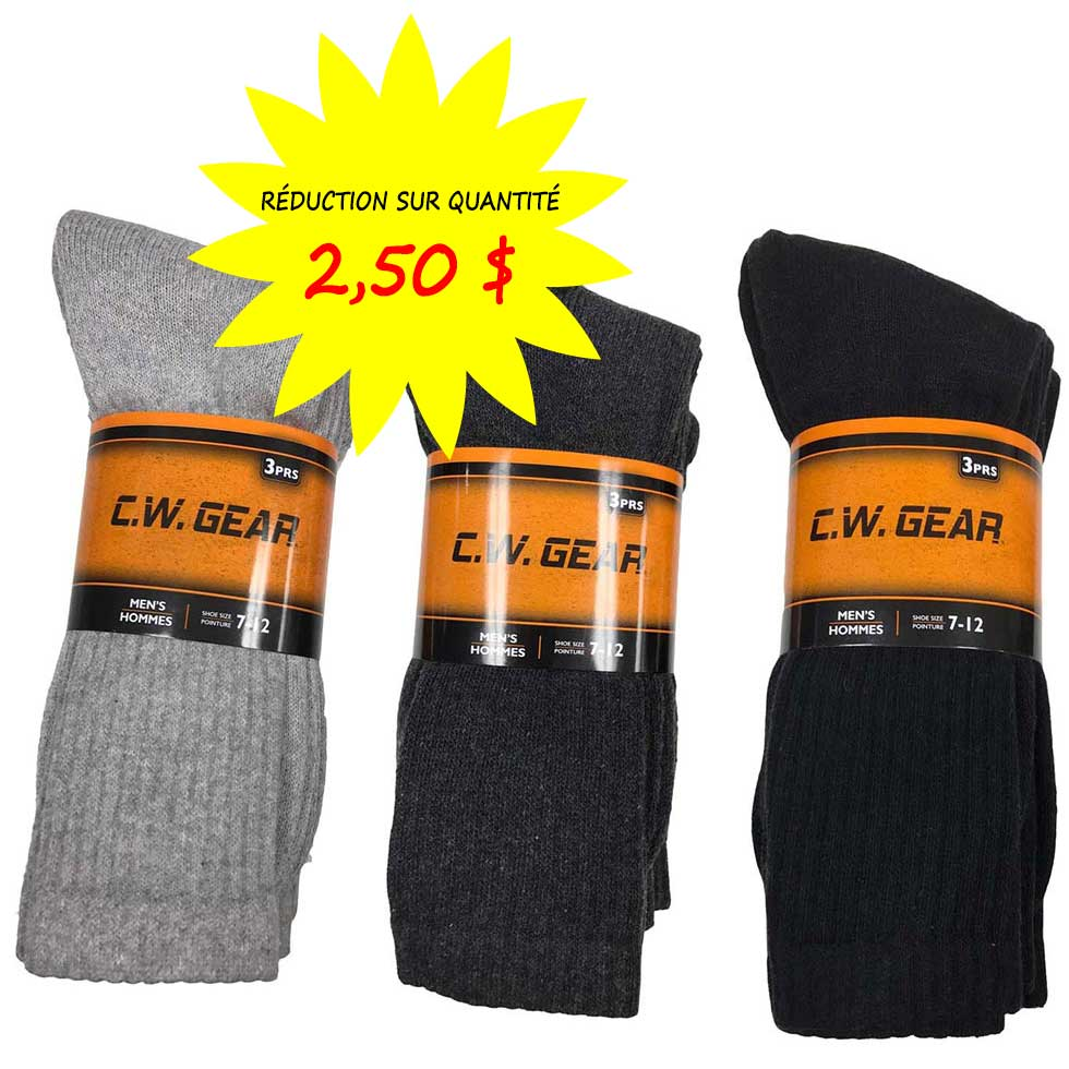 chaussettes bas pour hommes cw gear par lot de 3 paires. Black Bedroom Furniture Sets. Home Design Ideas